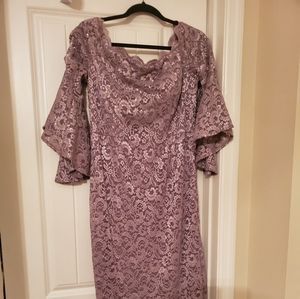 Mauve, Lace and sequins dress